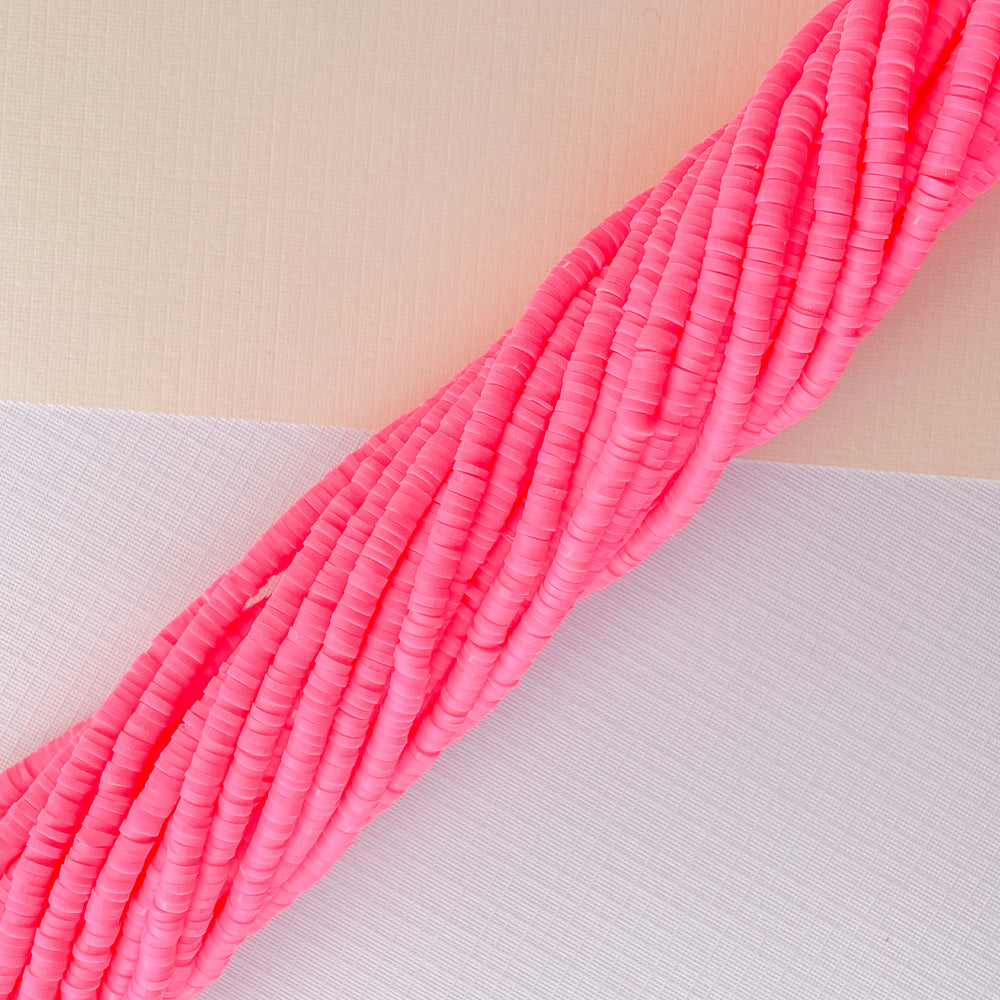 4mm Electric Pink Polymer Clay Strand