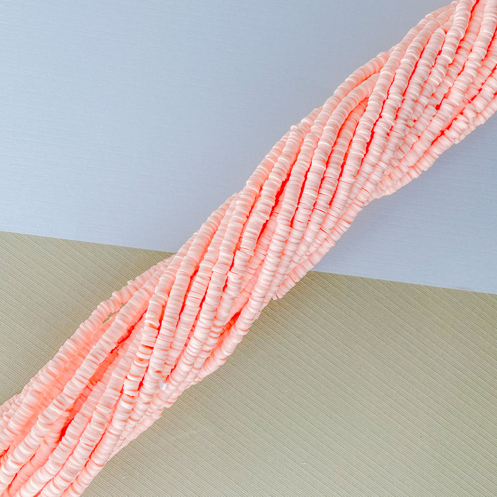 4mm Peach Polymer Clay Strand