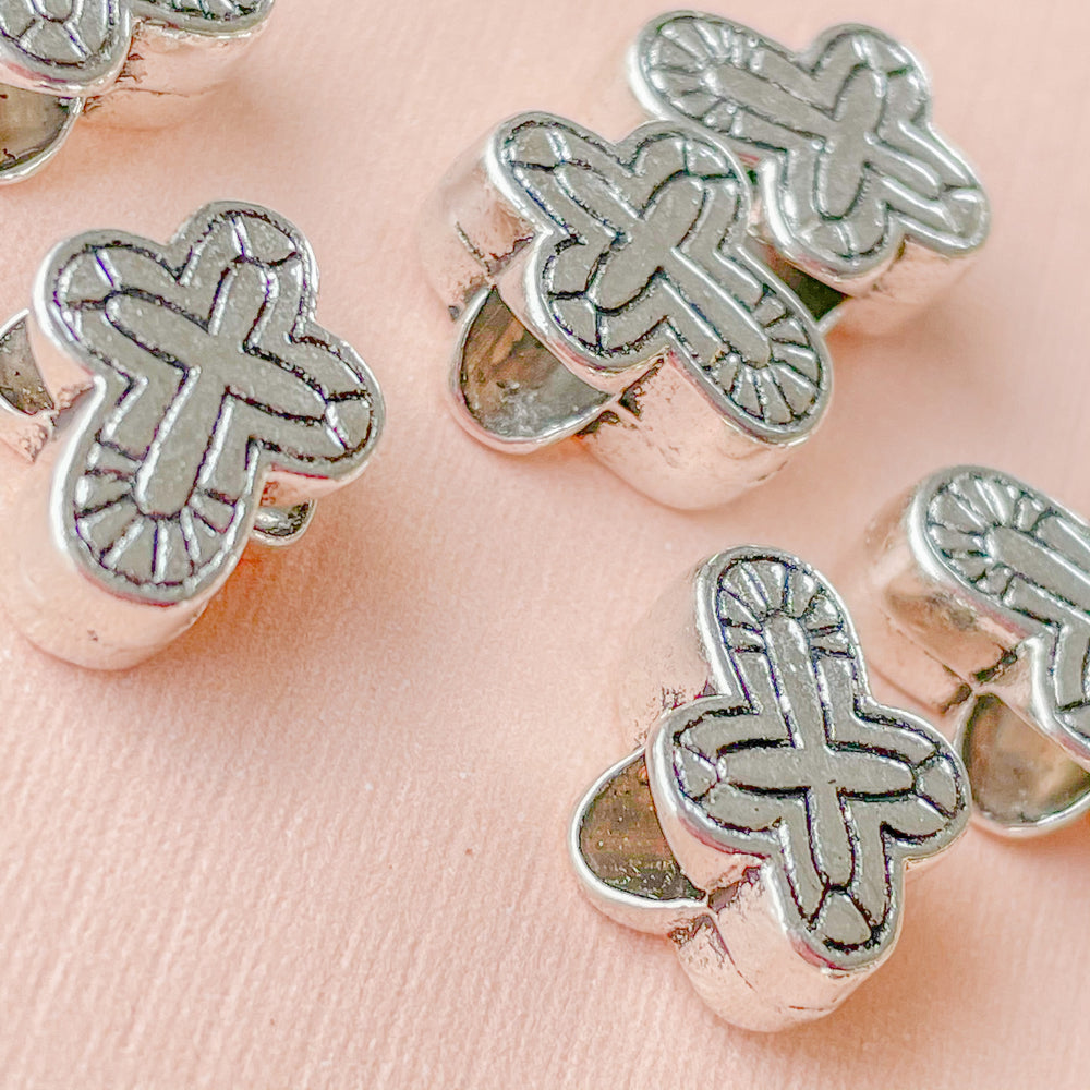 14mm Silver Pewter Cross Bead - 10 Pack