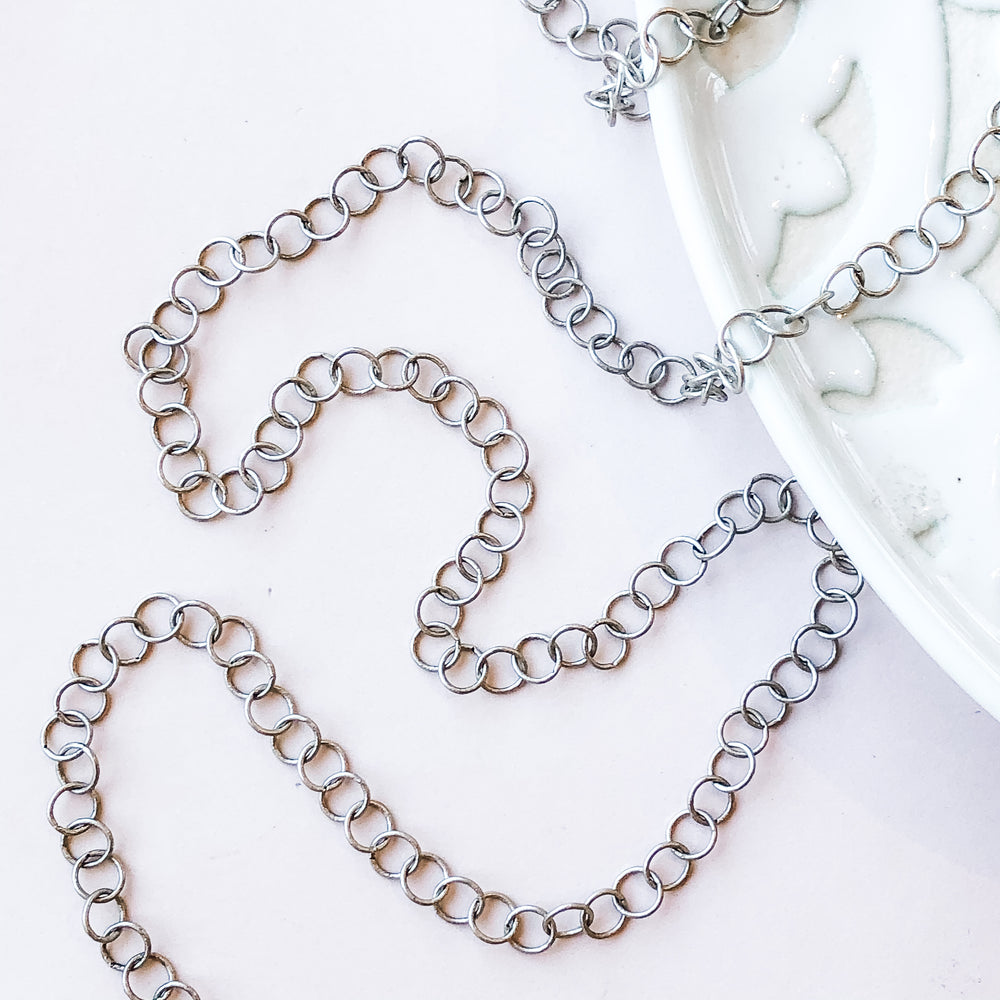 5mm Distressed Silver Round Cable Chain