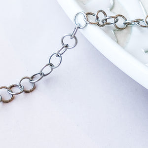 4mm Distressed Plated Silver Round Cable Chain