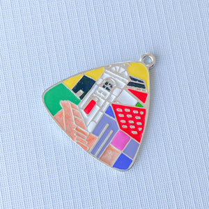 30mm Vista Enameled Pewter Triangular Pendant