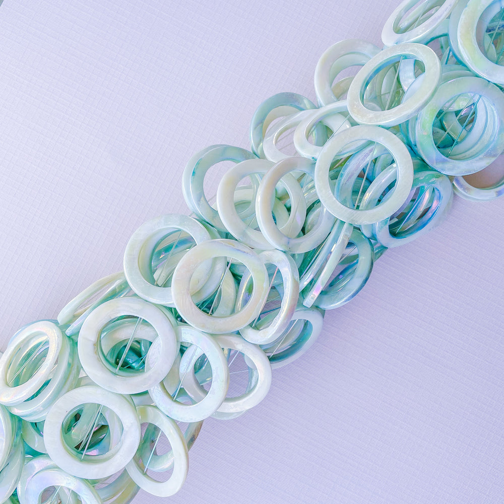 30mm Iridescent Aqua Mother of Pearl Circle Strand
