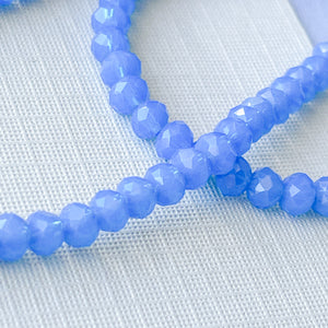 4mm Prussian Blue Faceted Chinese Crystal Rondelle Strand