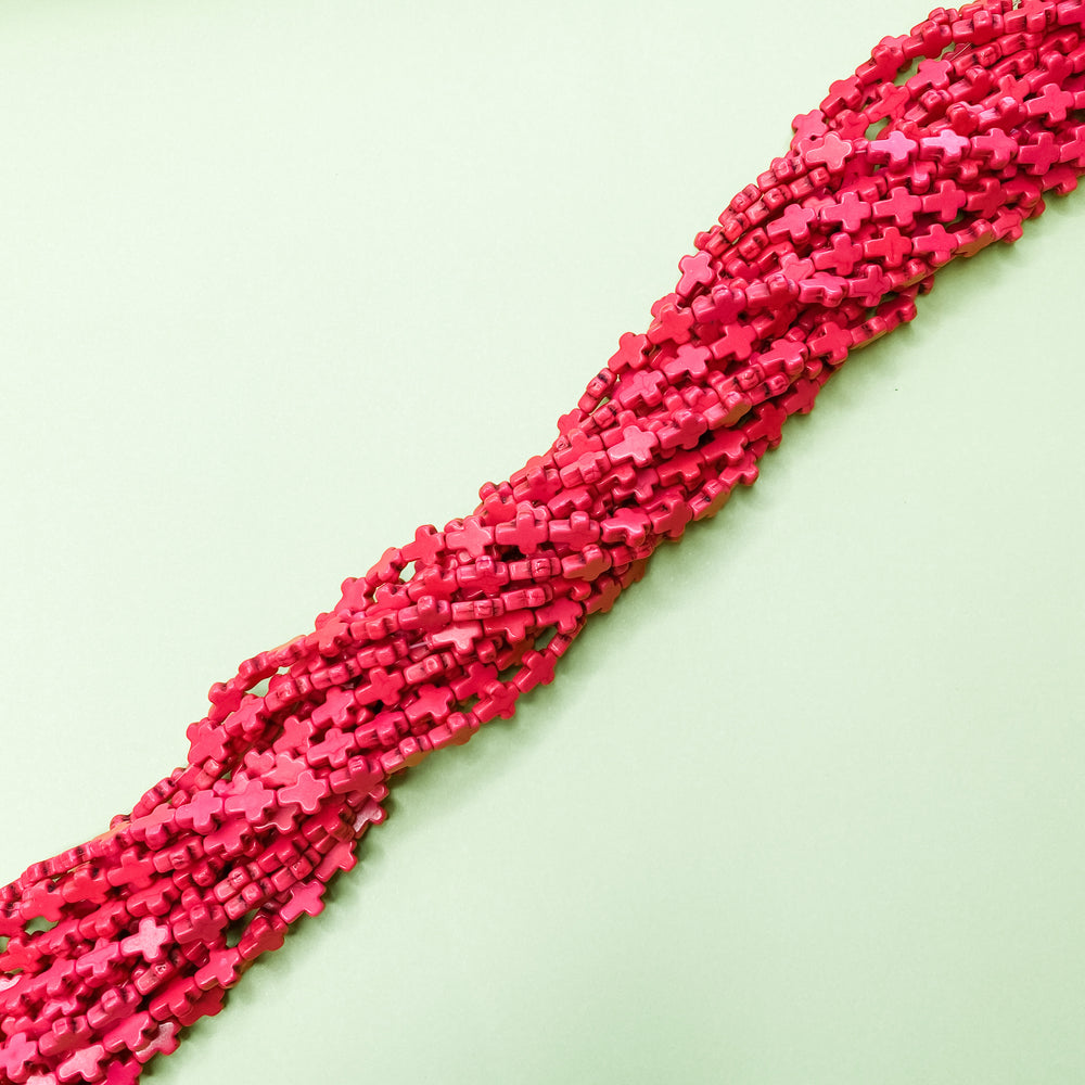 10mm Neon Pink Magnesite Cross Strand - Christine White Style