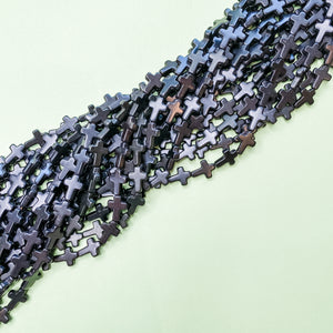 Load image into Gallery viewer, 16mm Black Dyed Magnesite Cross Strand - Christine White Style