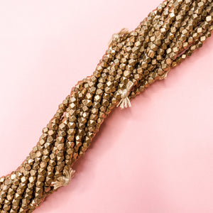 4mm Brass Square Nugget Bead Strand - Christine White Style