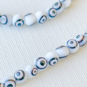 Load image into Gallery viewer, 4mm Black & White Evil Eye Glass Rounds Strand