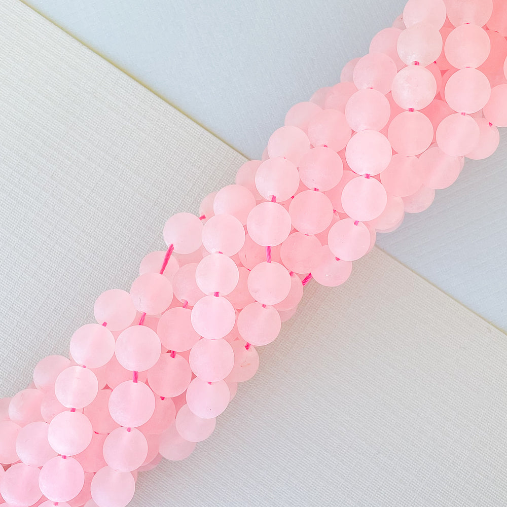 Load image into Gallery viewer, 8mm Matte Rose Quartz Rounds Strand
