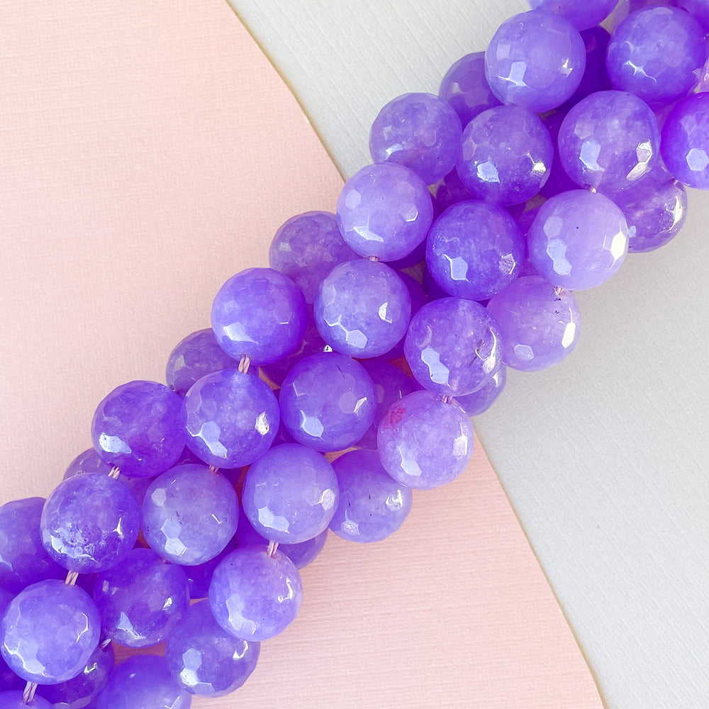 12mm Grape Faceted Dyed Jade Rounds Strand