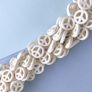 15mm White Magnesite Peace Sign Strand