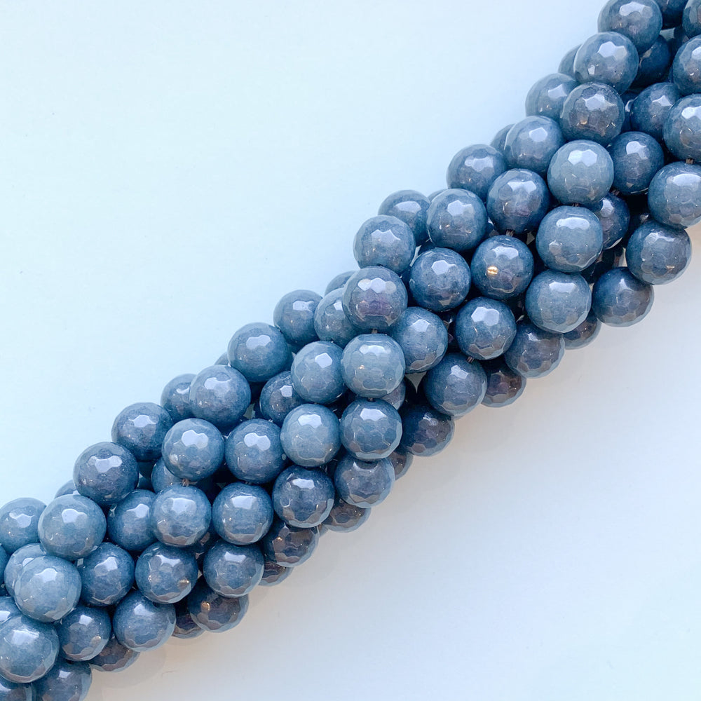 10mm Navy Faceted Dyed Jade Rounds