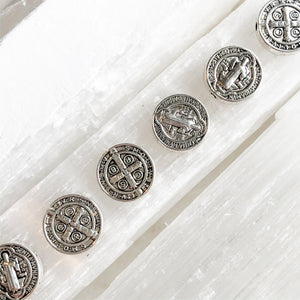 10mm Detailed St. Benedict Silver Coin Beads - 6 Pack - Christine White Style