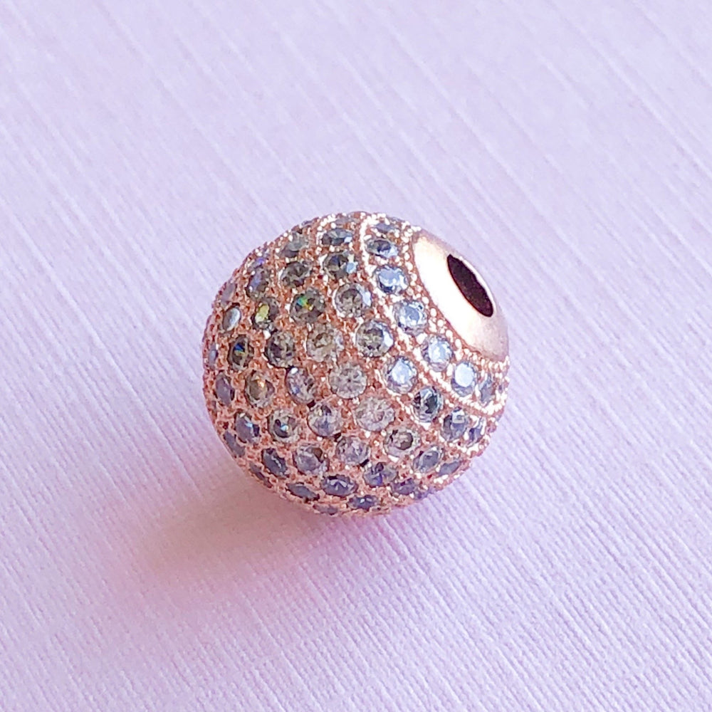 12mm Rose Gold Pave Crystal Round Bead