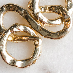 "17mm Gold Hammered ""S"" Hook with Ring - 2 Pack - Christine White Style"