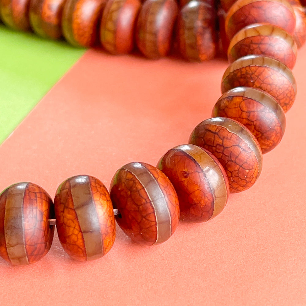 12mm Striped Crackle Chestnut Smooth Agate Rondelle Strand
