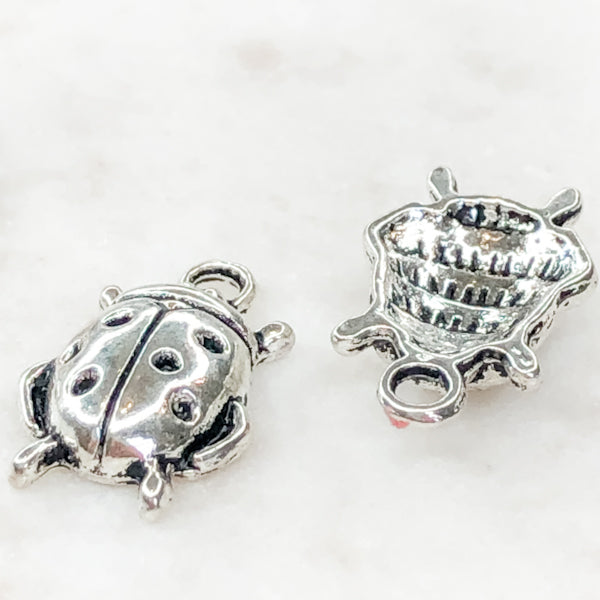 10mm Plated Pewter Bug Charms - 4 Pack - Christine White Style