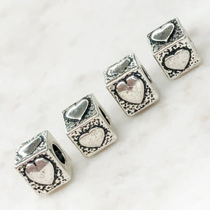 10mm Pewter Heart Cube Bead - 4 Pack - Christine White Style