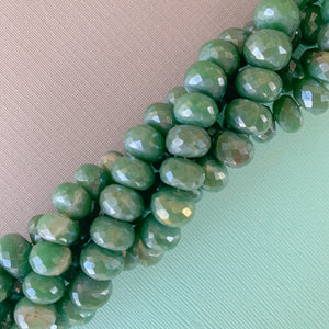 8mm Silver Wood Rondelle Strand - Christine White Style