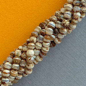 10mm Denim Wood Rounds Strand - Christine White Style