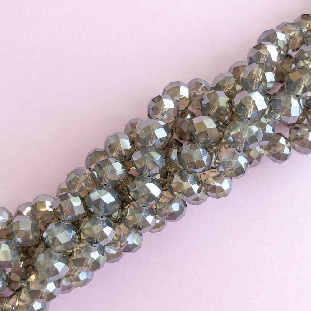 10mm Mirrored Gray Crystal Rondelle Strand