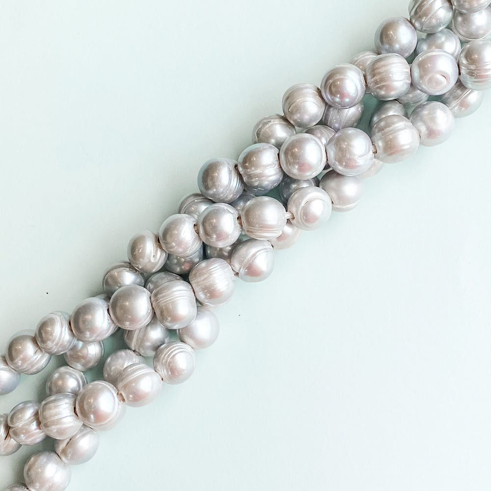 12mm Silver Freshwater Large Holed Pearl Strand