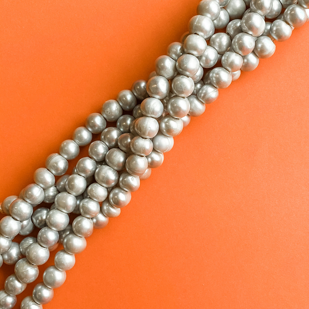 9-10mm Silver Freshwater Large Holed Pearl Strand