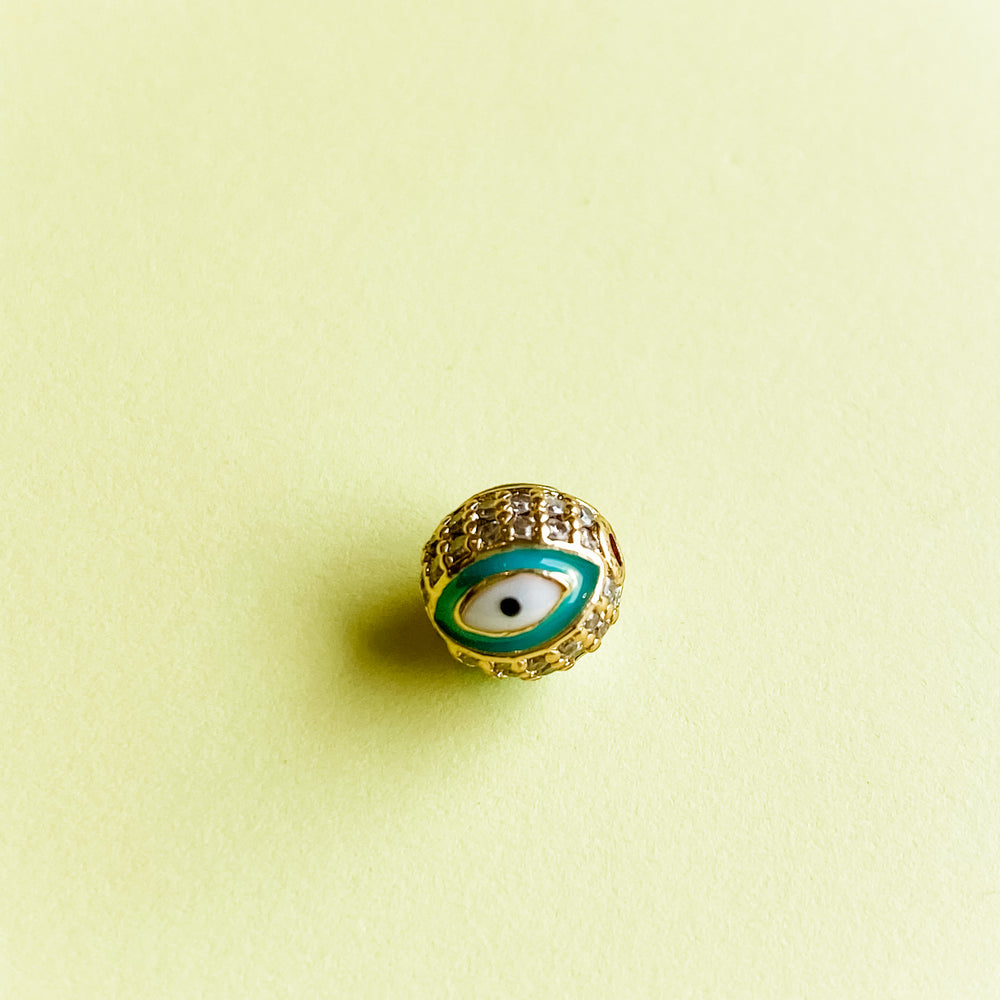 Load image into Gallery viewer, 7mm Pave Enamel Evil Eye Bead Spearmint