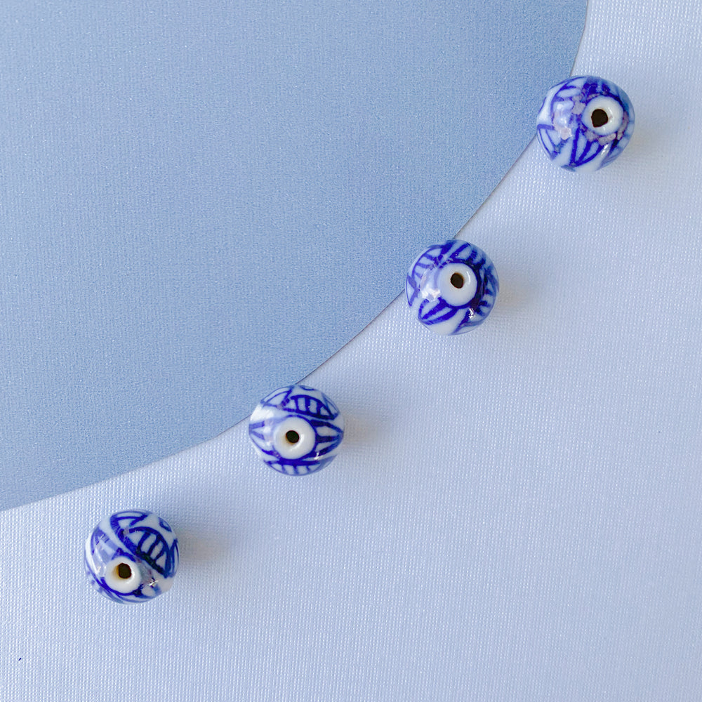 Load image into Gallery viewer, 7mm Pave Enamel Evil Eye Bead Cobalt