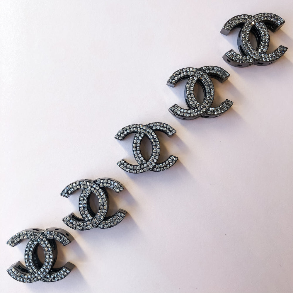 19mm Gunmetal Pave Interlocking C Bead
