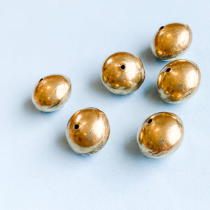 Load image into Gallery viewer, 19mm Gold Brass Handmade Saucer Bead - Pack of 6