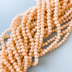 6mm Opaque Diamond Blush Crystal Rondelle Strand