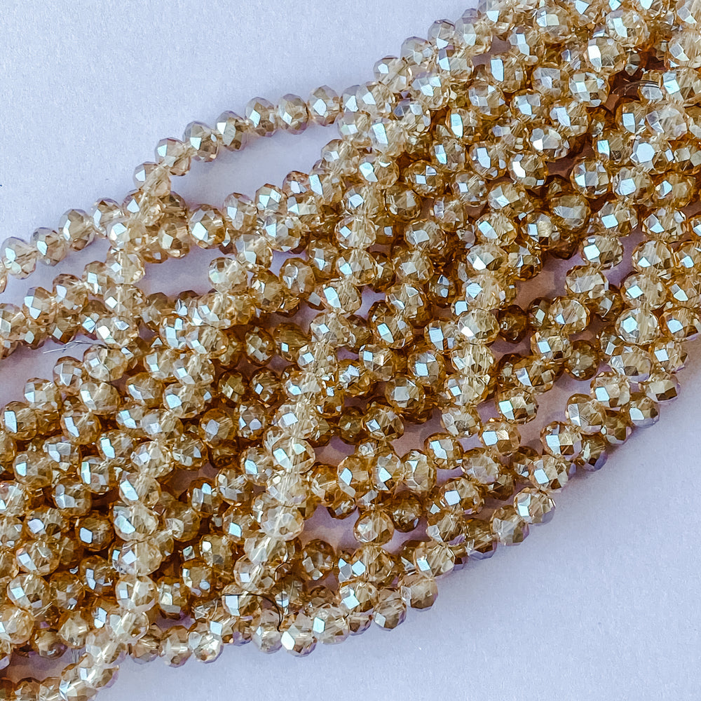 Load image into Gallery viewer, 6mm Diamond Finish Honey Crystal Rondelle Strand