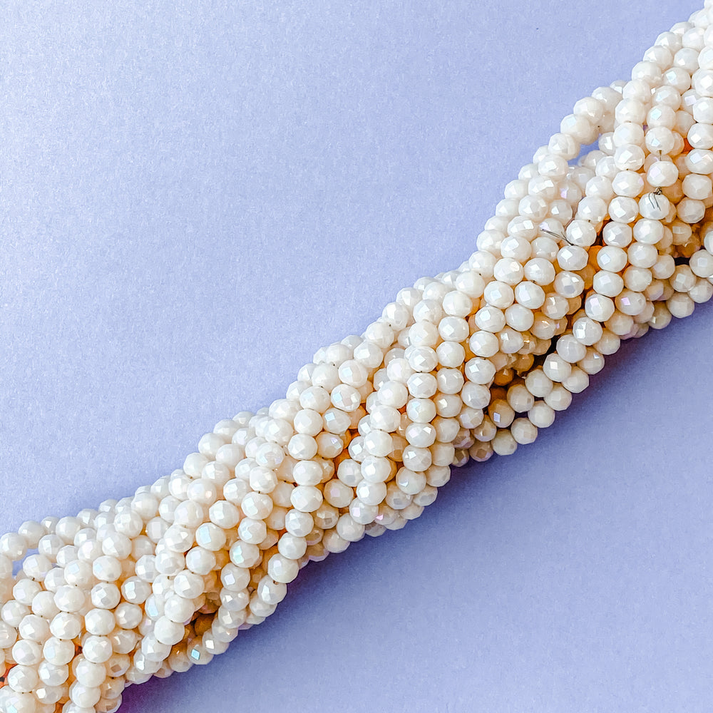 4mm Opaque Diamond Blush Crystal Rondelle Strand