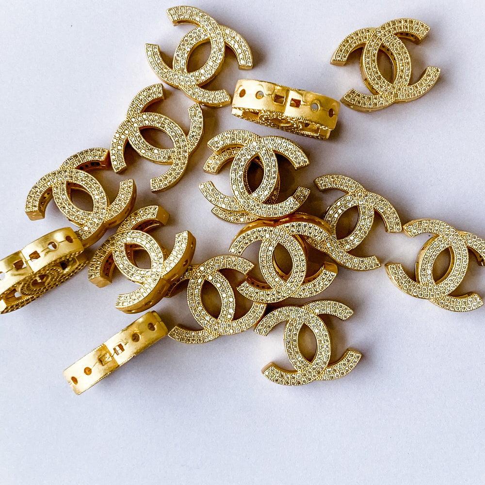 19mm Matte Gold Pave Interlocking C Bead
