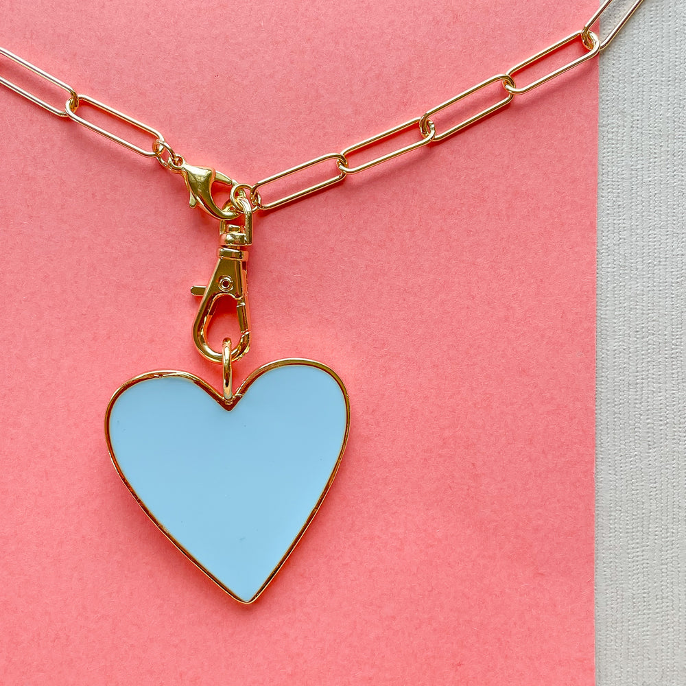 32mm Light Blue Enamel Heart Instant Charm Necklace