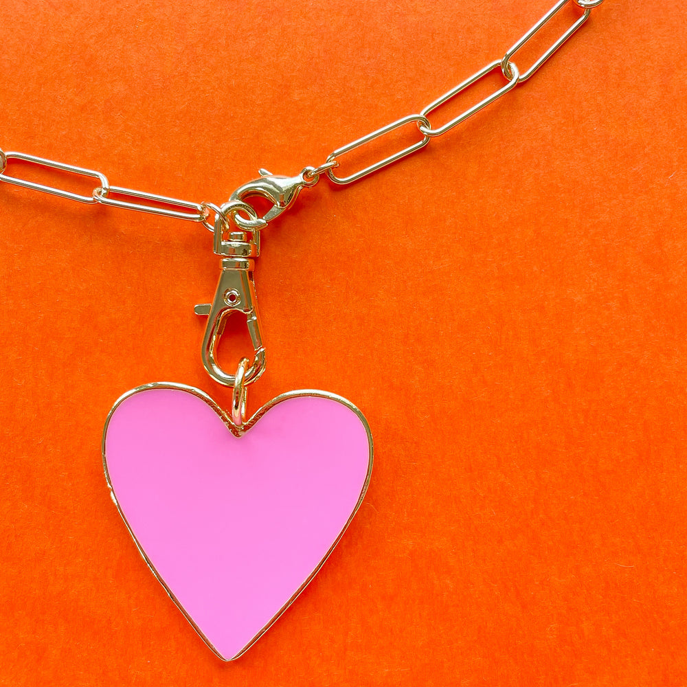 32mm Pink Enamel Heart Instant Charm Necklace