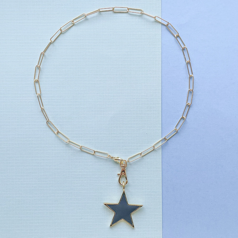35mm Charcoal Enamel Star Instant Charm Necklace