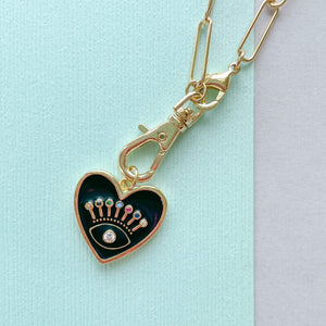 19mm Black Evil Eye Enamel Heart Instant Charm Necklace