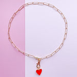 14mm Red Enamel Heart Instant Charm Necklace