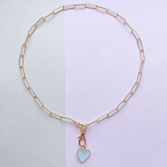 14mm Light Blue Enamel Heart Instant Charm Necklace