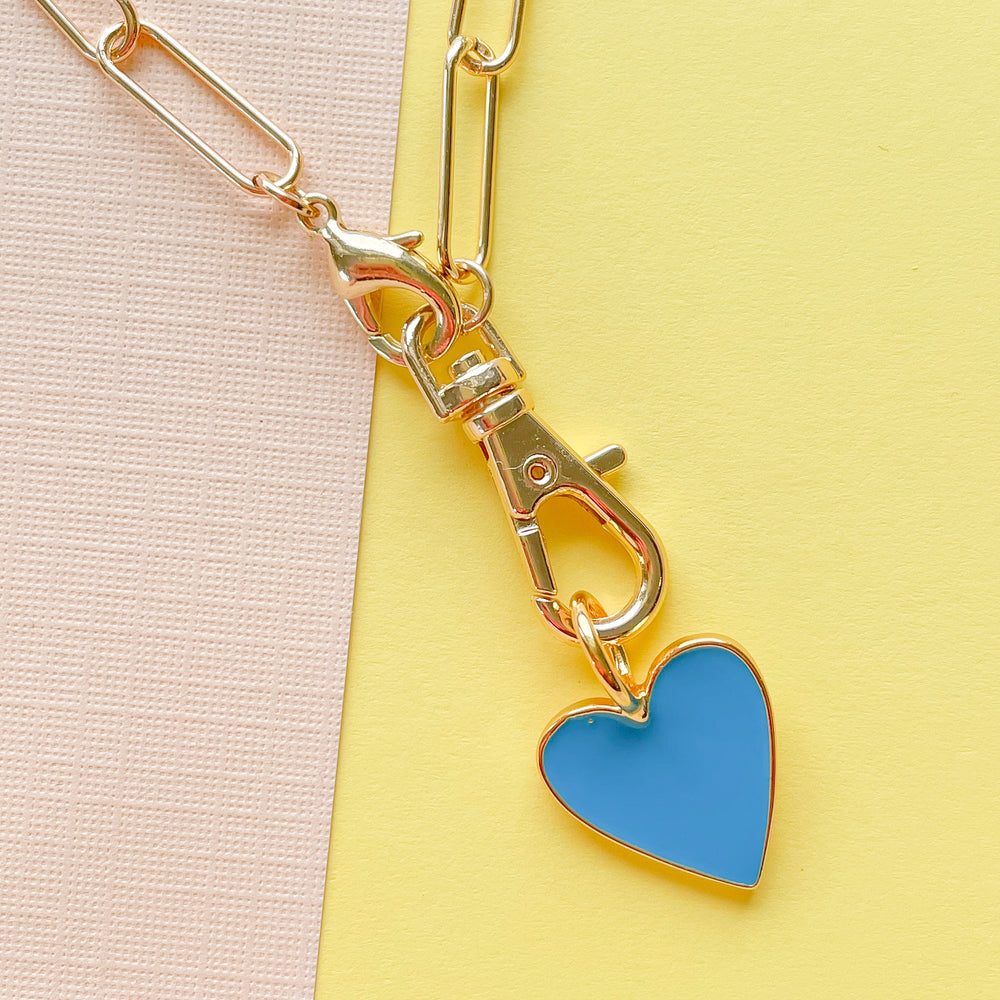 14mm Teal Enamel Heart Instant Charm Necklace