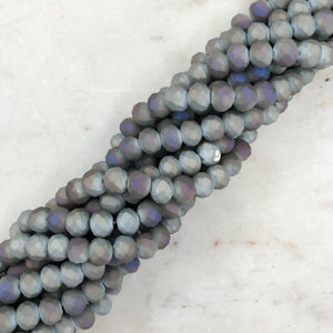 8mm Iridescent Matte Gray Faceted Chinese Crystal Strand - Christine White Style