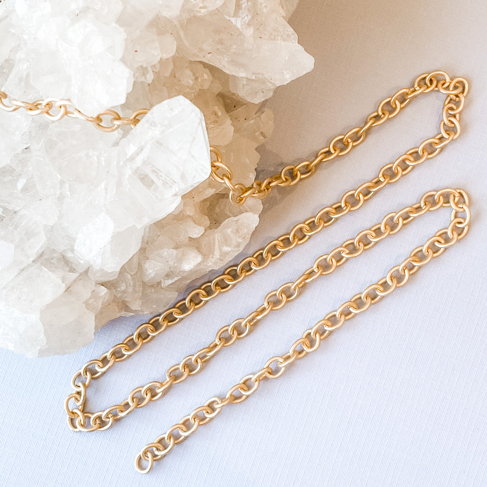 8mm Brushed Gold Cable Link Chain
