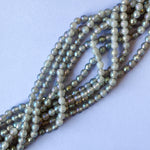 6mm Faceted Natural Agate Strand With AB Finish