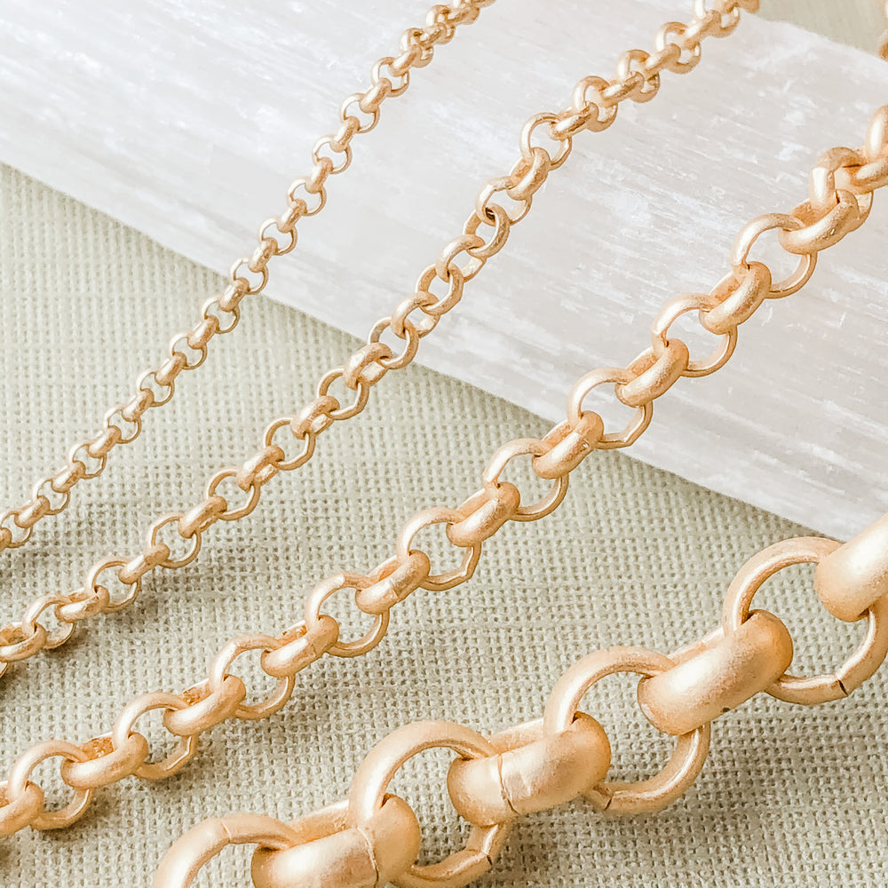 1.5-7mm Brushed Gold Rolo Chain