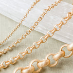 1.5-7mm Brushed Gold Rolo Chain - Christine White Style