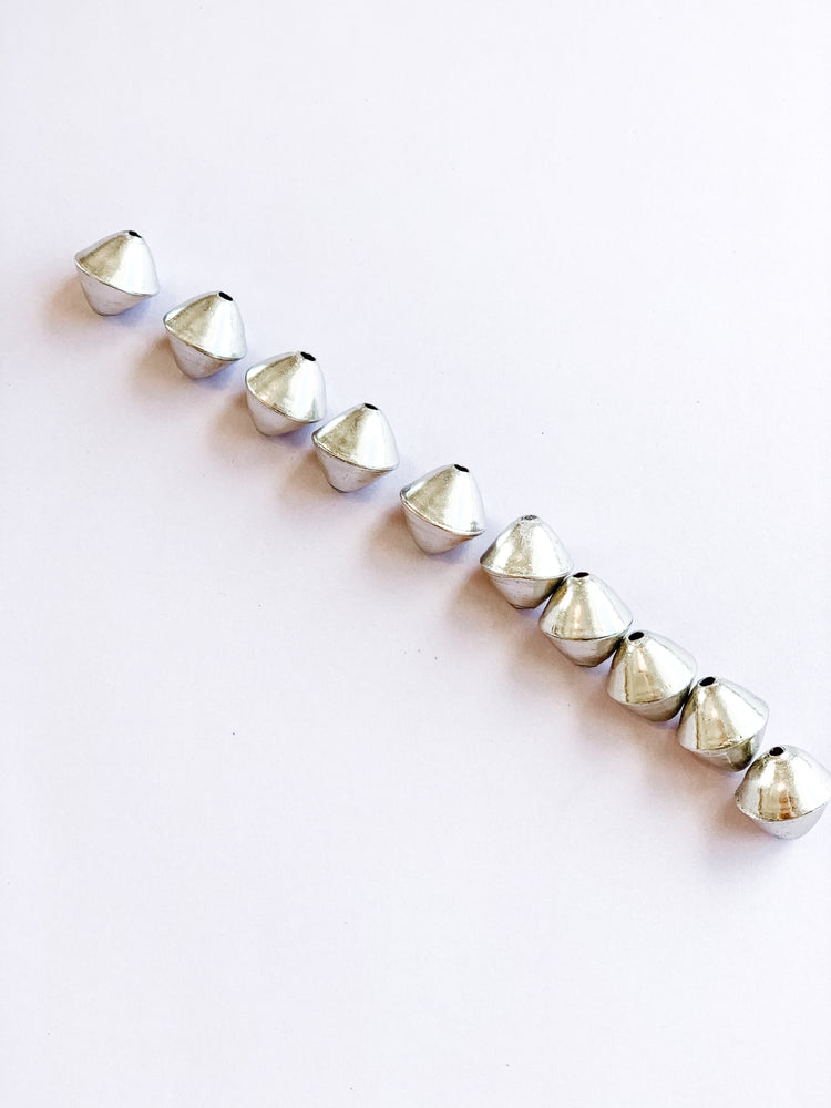 15mm Silver Brass Handmade Bicone Bead 10 Pack