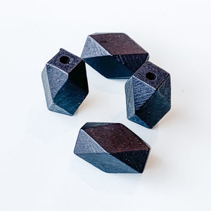 12mm Black Faceted Wood Bead - 4 Pack