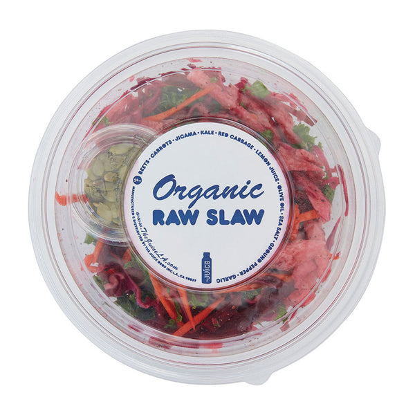 Raw Slaw • julienne of beet • carrot • jicama • kale • tossed in lemon juice and olive oil